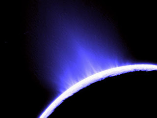 A plume of water from Enceladus