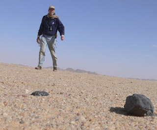 Peter Jenniskens with some of the meteorites