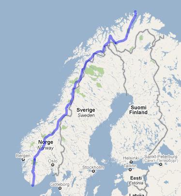 norge på langs kart Norge på langs: Rute norge på langs kart