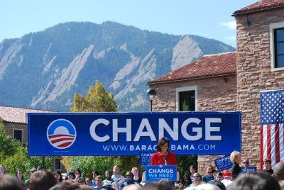Michelle Obama at a rally in Boulder, Colorado