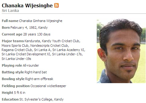 St  Sylvester's college, Kandy: Sylvestriens Cricketer Chanaka