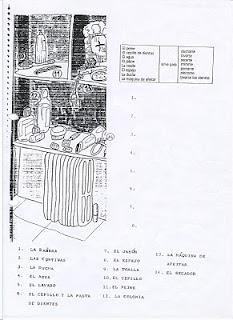 Elementary level sppanish exercises/Ejercicios español básico/El cuarto de baño