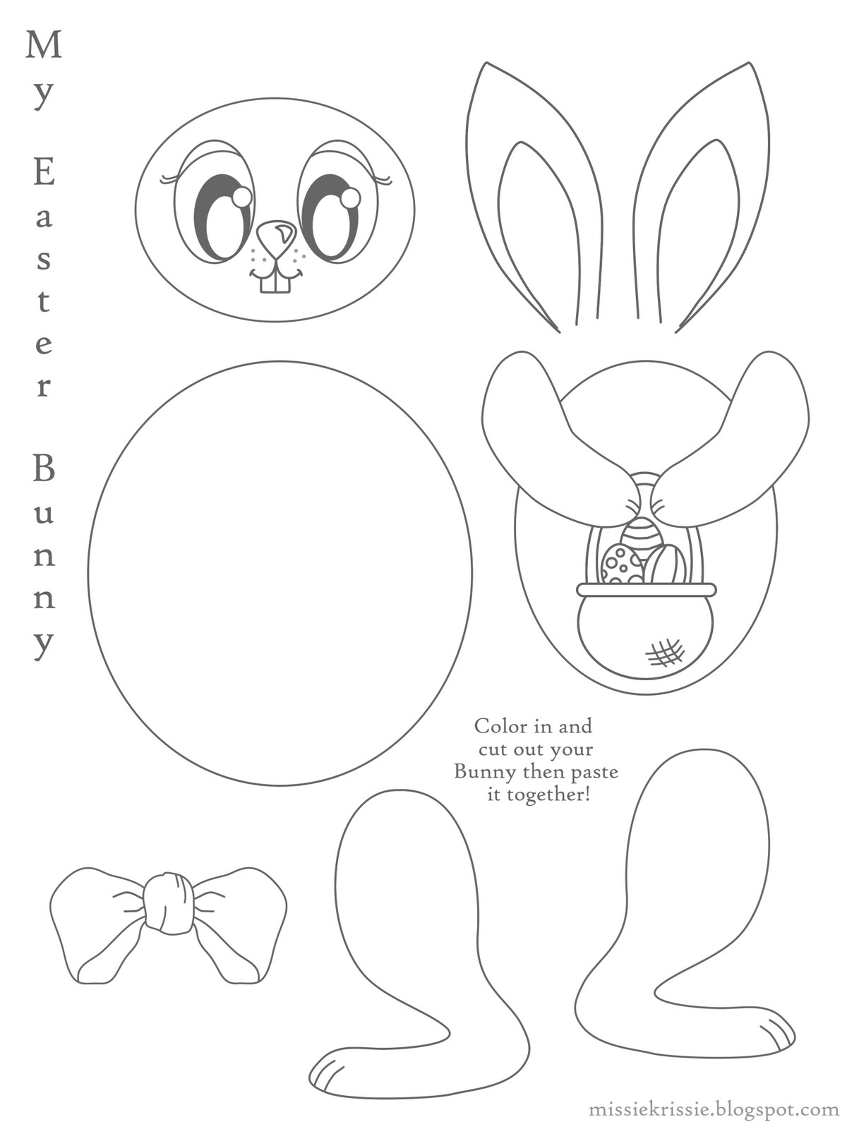 Easter Bunny Cut And Paste Sheet Image