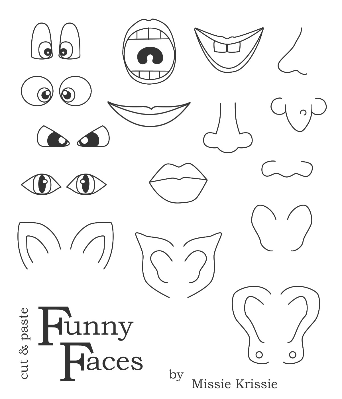 Missie Krissie Tuesday Freebies Funny Faces For Kids