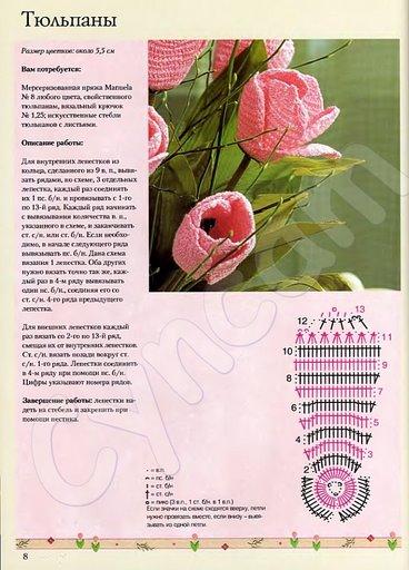 tulipa de croche, e grafico.