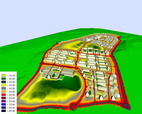 Plano Acústico 3D de un desarrollo urbanístico