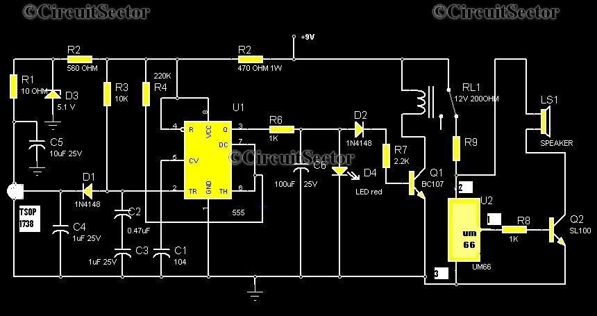 Infrared Burglar Alarm Using Remote Control Top Circuits