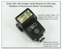 PJ1057: Replacement Foot Assembly with Voltage Limiter for Vivitar 283 Flash Unit - Reduces Trigger Voltage from 250 volts to 6 volts