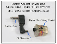 CP1048: Custom Adapter Mounting Optical Slave Trigger to PW - Closup View (Offset PC Plug to RA Mini Plug
