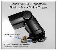 CP1054: Canon 580 EX - Repeatedly Fired by Sonia Optical Trigger as a Direct Connect through the Aux Sync Jack Using the RA Sub-Mini to PC Plug Adapter