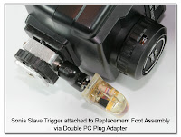 PJ1083: Sonia Optical Slave Trigger attached to Replacement Foot Assembly via Double PC Plug Adapter