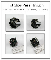PJ1068: Hot Shoe Pass Through with Test Fire Button, 2 PC Jacks, 1 PC Plug