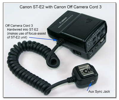 Canon ST-E2 with Canon Off Camera Cord 3 and Aux Sync Jack in Flash End
