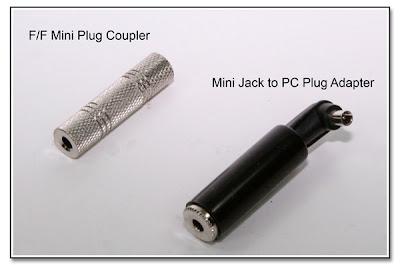 F/F Mini Plug Coupler, and Mini Inline Jack to PC Plug Adapter