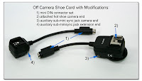 OC1028: Canon Off Camera Shoe Cord2 with mini-DIN connector set, additional attached hot shoe, and custom sub-mini sync jacks