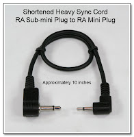SC1022: Shortened Heavy Sync Cord - RA Sub-mini Plug (2.5mm) to RA Mini Plug (3.5mm) 10 Inches Long