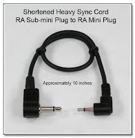 SC1022: Shortened Heavy Sync Cord - RA Sub-mini Plug (2.5mm) to RA Mini Plug (3.5mm) 10 Inches Long