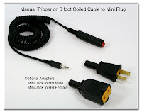LT1027 (SC1040): Manual Tripper on 6 Foot Coiled Cable to Mini Plug (3.5mm) with HH (Male and Female Adapters)