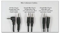 SC1055: Mini Connector Extension Cables - RA plug to straight plug, straight plug to straight plug, straight plug to inline jack