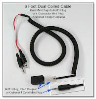 SC1056: 6 Foot Dual Coiled Cable - Dual Mini Plugs to RJ11 Plug (or 4 Conductor Mini Plug)