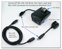 OC1006: Canon ST-E2 with Hot Shoe, Aux Sync Jack and Mini-DIN Connector to Modified OCC