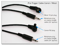 PT1010: Pre-Trigger (MotorDrive) Cable for Canon N3 or Nikon 10 Pin Cameras - No AutoFocus Override Switch