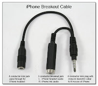 CP1039: iPhone Breakout Cable - 3 Conductor Breakout Jack for Headset Audio and Mic Audio