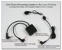 CP1043: Cell Phone Recording Combiner Box (non-iPhone) - Combine Mic Audio and Headset Audio to One Channel