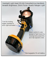 CP1105: Dedolight Light Head (DLH4) Converted to a Handheld, Variable Brightness, Zoom Focus, Quartz Halogen Light - Left Front View - Twist Tie Holding Trigger Pressed to Show Light Activated