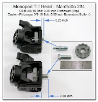 PJ1094: Monopod Tilt Head - Manfroto 234 OEM vs Custom Longer 3/8-16 Bolt