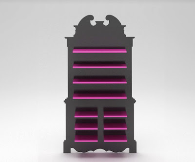 interior furniture furniture in pink and black colours