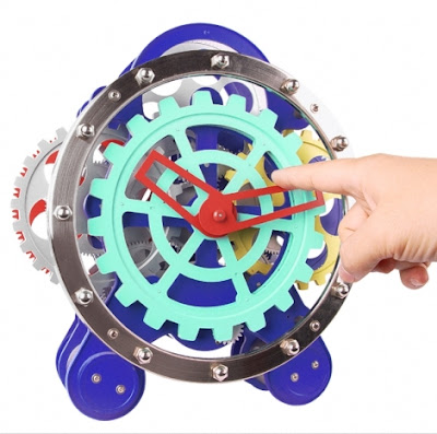 Visible Dual Gear Gadget Clock is a colourful clock