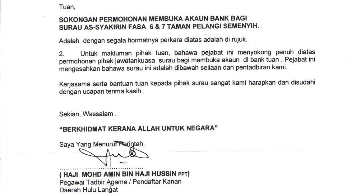 Surat Rasmi Untuk Buka Akaun Bank Hijab Style 6