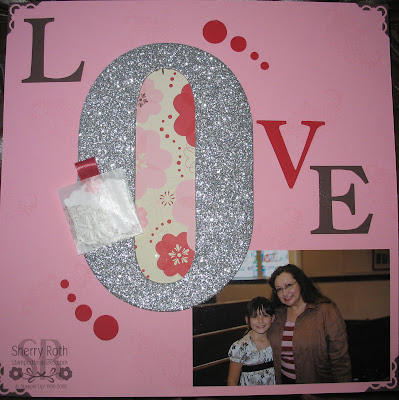Glittered Chipboard Love Layout