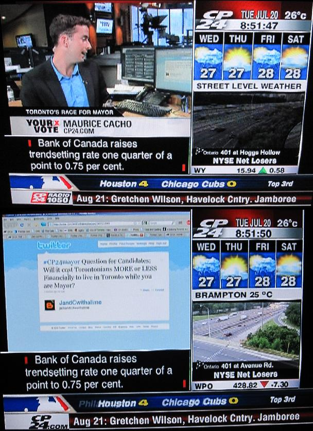 JandCwithalime Tweet Featured on CP24 Toronto Mayoral Debate