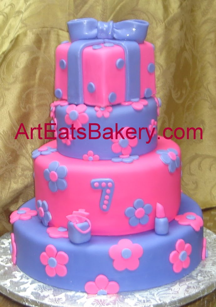 Pink And Purple Fondant Custom Designed Girls 4 Tier Birthday Cake With Flowers Lipstick Gift Bag Square Present Topper