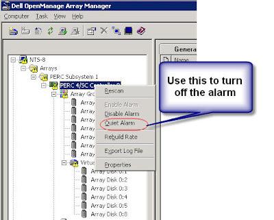 QVLWeb: Turn off beeping alarm on Dell server
