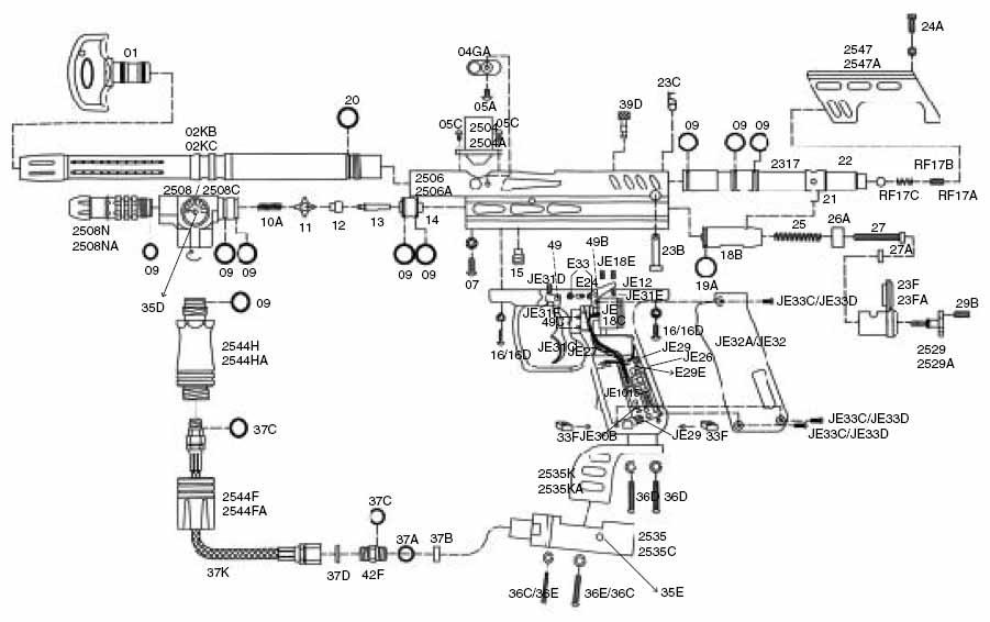 Spyder Paintball Guns: Spyder Electra and Electra DX Parts