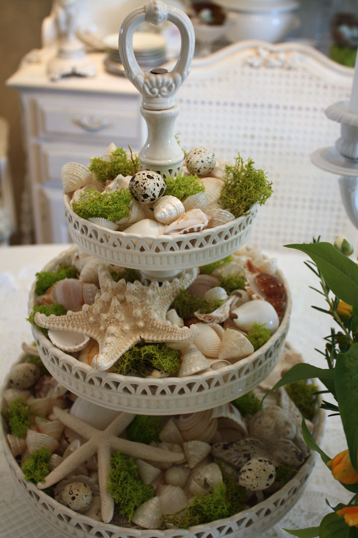 Seashell Tiered Display (10 Summer Seashell Decor Ideas)   #decor #decorating #seashells #beach #summer #sea