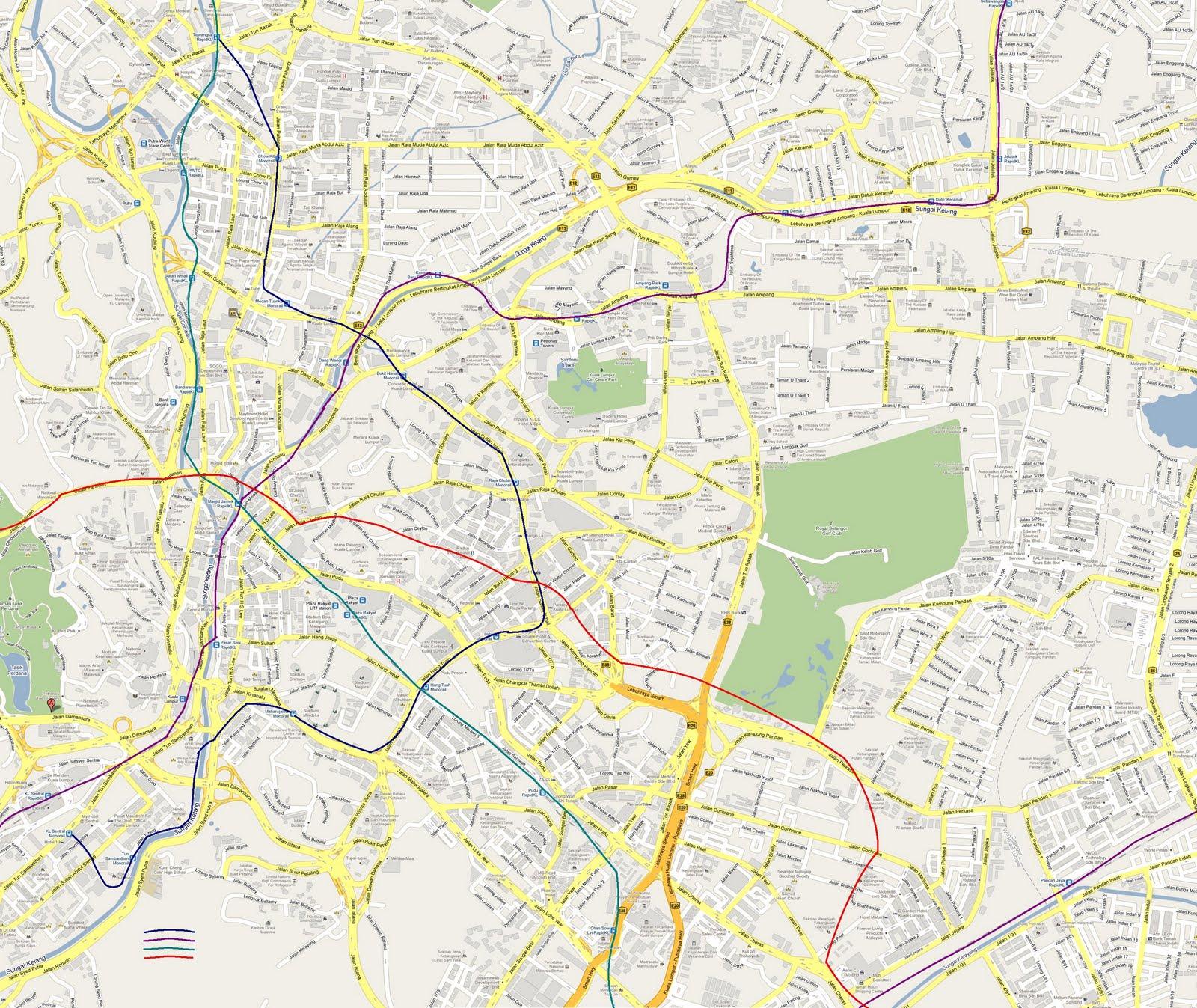 Kuala Lumpur Malaysia Map: Kuala Lumpur's New MRT Map Alignment.