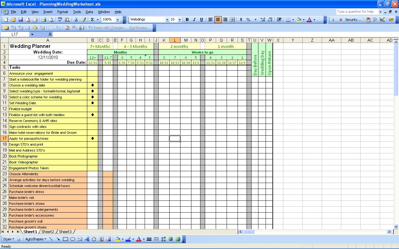 Free Themes Store: Planning Wedding Worksheet - Free Excel Template