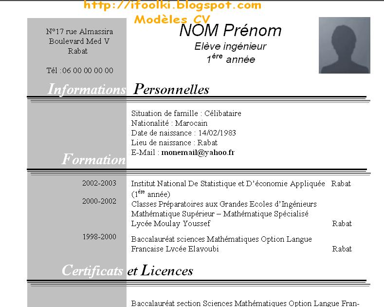 Exemple De Cv Pour Stage Maroc