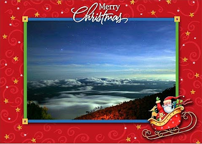 Happy Christmas. Based on a photograph taken from Mt Kinabalu, Borneo, November 2005. Click picture for more detail.