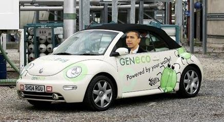 Barack Obama in the poopmobile, which is not to be confused with the Popemobile; hope and change, hopenchange