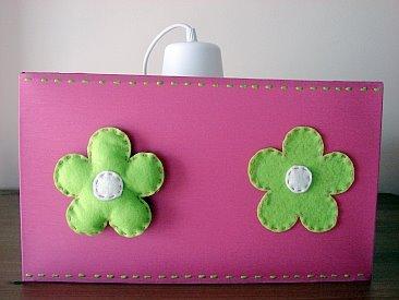Candeeiro Quadrado Rosa/Verde