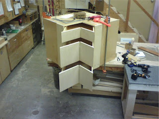 Front of lazy Susan, drawers open