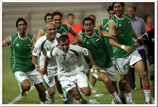 The Iraqi team plays in the World Soccer Cup games
