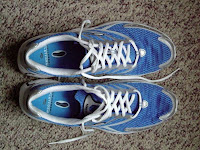 Brooks Burn shoes, cushioned but no other support.  I use them for training and racing at all distances