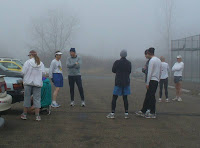 Runners chatting after the run, still foggy!