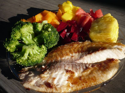 Tilapia with mango salsa.  Click to enlarge